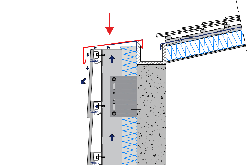 Den ventileret facades top åbning